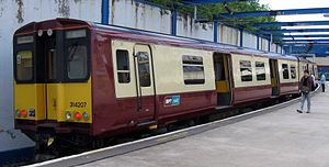 British Rail Class 314 - Class 314207 in carmine and cream livery at Gourock