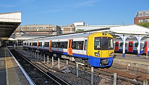 British Rail Class 378 - London Overground Class 378 No. 378010 stands at Richmond on a North London Line service while still a 3-car 378/0. It has since been renumbered 378210 upon addition of a fourth car.