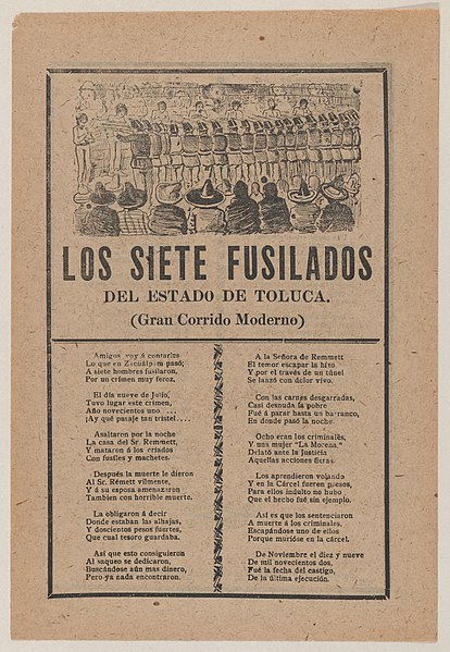 File:Broadsheet relating to seven men executed by a firing squad on account of their murder on July 9 of the entire household of Sr Remmett in Toluca, a corrida in the bottom section MET DP869139.jpg