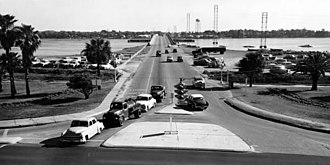 Broadway Bridge (Daytona Beach) - A view of the Carleton-Blank Bridge from 1954, looking eastward.