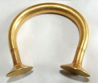 Gold working in the Bronze Age British Isles - Irish bracelet, c. 950-c. 800 BC, using a shape that is varied across a range of sizes and functions.
