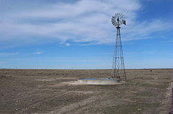 Windmill on the level plains of the Texas Panhandle