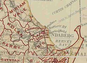 City of Bundaberg - Map of Bundaberg Municipality and adjacent local government areas, March 1902. Legend: Bundaberg Municipality (1), Woongarra Division (19)
