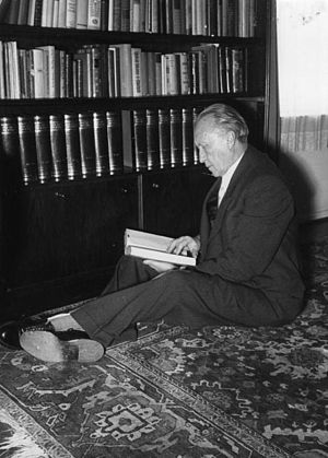 Konrad Adenauer - Adenauer in 1951, reading in his house in Rhöndorf he had built in 1937. It is now a museum.
