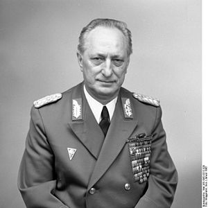 Ministry of National Defence (East Germany) - Colonel General Heinz Keßler in 1982: member of the Central Committee of the SED, Deputy Minister of National Defence and Chief of the Political head of the NVA