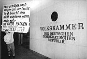 Bundesarchiv Bild 183-1990-0111-046, Berlin, Demonstrant vor Volkskammer