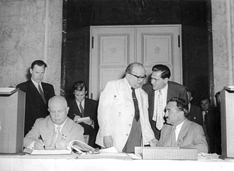 Anastas Mikoyan - Anastas Mikoyan with Nikita Khrushchev (sitting left) in Berlin, 1957