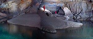 Subterranean river - A subterranean river in the Cross Cave system of Slovenia.