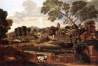 Larmer Tree Gardens - Nicolas Poussin's The Funeral of Phocion, a copy of which forms the backdrop to the open-air theatre at the Larmer Tree Gardens.