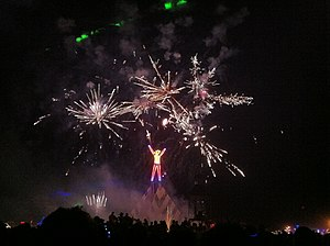Burning Man - The effigy with fireworks immediately before being burned in 2011