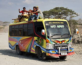 Transport in East Timor - A Baucau–Dili bus on National Highway 1, 2018