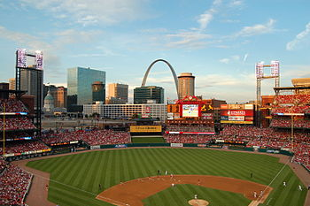 Busch Stadium, as seen during the park's openi...