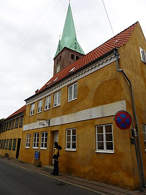 Dieterich Buxtehude - This is Buxtehude House. The spire of St. Olaf's is in the background.