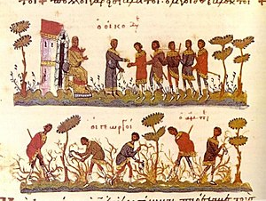 Byzantine economy - Parable of the Workers in the Vineyard. Workers on the field (down) and pay time (up), Byzantine Gospel of 11th century.