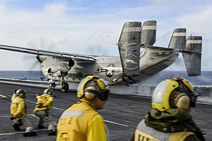 Grumman C-2 Greyhound - A C-2 Greyhound launches from a carrier at sea