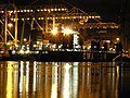 CMA CGM Bellini at night, at the Amazone harbour, Port of Rotterdam, Holland 11-Feb-2006.jpg