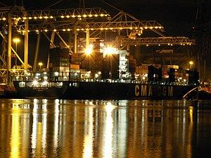 CMA CGM Bellini at night, at the Amazone harbour, Port of Rotterdam, Holland 11-Feb-2006.jpg