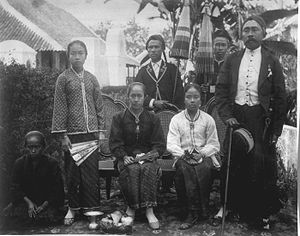 Garut - The Regent of Garut, Raden Adipati Aria Wiratanudatar VII, with his wife RA Lasminingrat (sitting) and his family.
