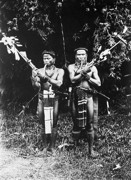 File:COLLECTIE TROPENMUSEUM Portret van twee Dajak mannen met mondorgels TMnr 60031302.jpg