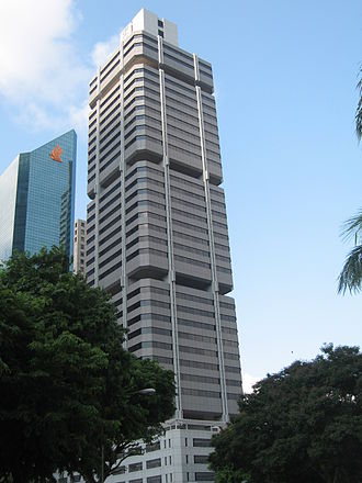 Robinson 77 - SIA building with its tail fin design (left) and CPF building