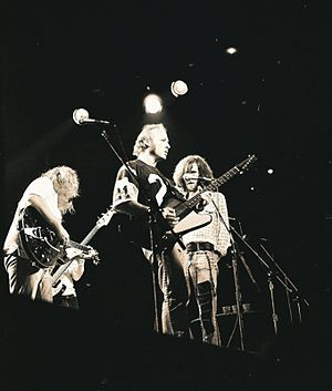 Crosby, Stills, Nash & Young's music unerringly reflected the tastes and viewpoints of the counterculture in the late 1960s and early 1970s. CSNY 8-1974 (3).jpg