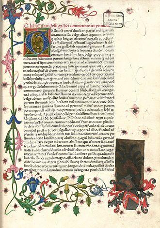 Commentarii de Bello Gallico - First page of De bello Gallico, from a 1469 manuscript