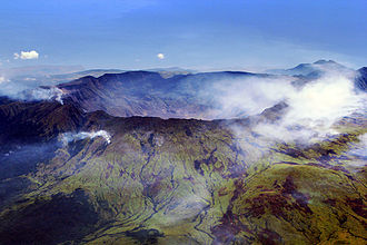 Mount Tambora - Aerial view of the caldera of Mount Tambora, formed during the colossal 1815 eruption.