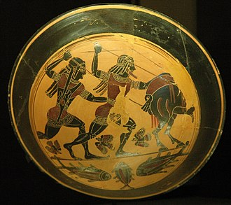 Calydonian Boar - Tondo of a Laconian black-figure cup by the Naucratis Painter, ca. 555 BCE (Louvre)