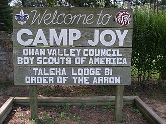 Scouting in Illinois - Sign at the entrance to Camp Joy