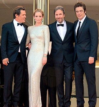 Sicario (2015 film) - Villeneuve with Josh Brolin, Emily Blunt, and Benicio del Toro at the 2015 Cannes Film Festival premiere of Sicario
