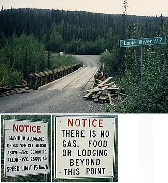 Canol Road - Typical Canol Road bridge and signs