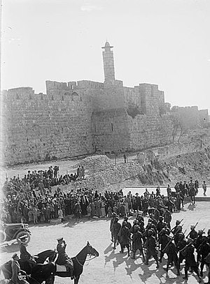 Egyptian Expeditionary Force - British troops on parade at Jaffa Gate in December 1917 after the capture and occupation of Palestine.