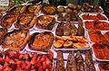 Carabasses i verdures torrades, mercat de Russafa.JPG