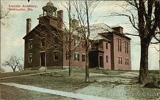 Lincoln Academy (Newcastle, Maine) - Postcard of Lincoln Academy in 1912