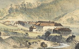 Convict women in Australia - Detail of a lithograph by John Skinner Prout showing the Cascades Female Factory, 1844