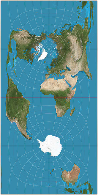 Cassini projection - Cassini projection of the world