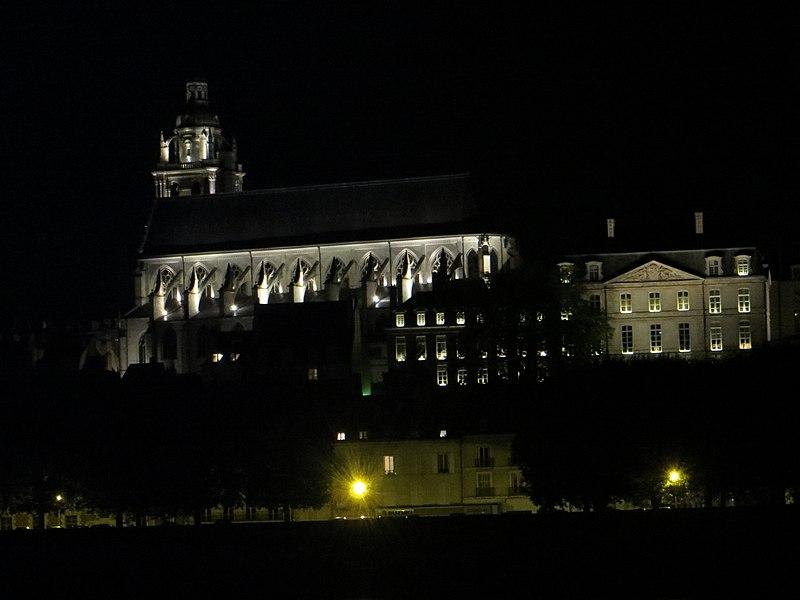 Cathédrale Saint-Louis, prise de nuit, du l'autre rive de la Loire.