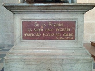 "Confession of Peter - Plaque at Nantes Cathedral: ""Thou art Peter, and upon this rock I will build my church."""