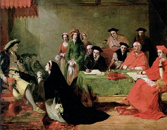 The Trial of Queen Catherine of Aragon, by Henry Nelson O'Neil (1846-48, Birmingham Museums) Catherine Aragon Henri VIII by Henry Nelson ONeil.jpg