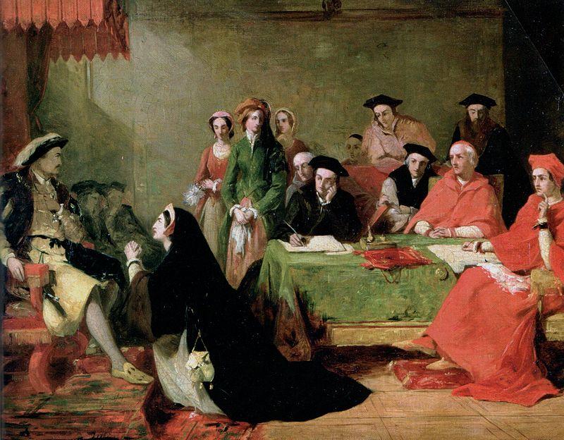 Genealogía de los Reyes Católicos 800px-Catherine_Aragon_Henri_VIII_by_Henry_Nelson_ONeil