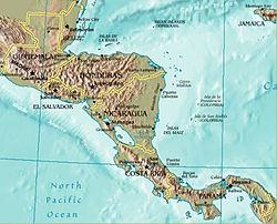 מפה מדינית של אמריקה התיכונה