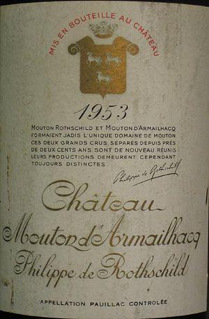 Château d'Armailhac - Detail of a label of then named Château Mouton d'Armailhacq Philippe de Rothschild of the 1953 vintage