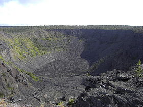 Vue du Pauahi depuis le point de vue sur la Chain of Craters Road.