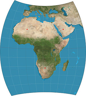 "Chamberlin trimetric projection - A map of Africa using the Chamberlin trimetric projection. The three red dots indicate the selected ""base"" locations: (22°N, 0°), (22°N, 45°E), (22°S, 22.5°E). 10° graticule."