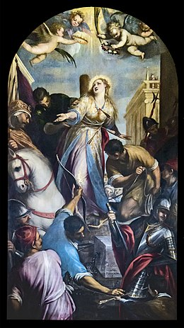 Chapel of our Lady of the Rosary of Santi Giovanni e Paolo (Venice) - Martyrdom of St Christina by Sante Peranda.jpg