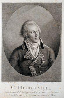 Portrait gravé de Charles Joseph Fortuné, marquis d'Herbouville, en uniforme de préfet et portant la Légion d'honneur, œuvre d'Ignace-Jos Van den Berghe, réalisée d'après une peinture de Mathieu-Ignace Van Brée.