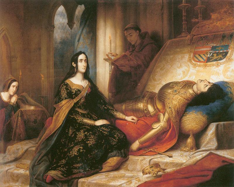 Joana sobre o leito de morte do marido, Felipe de Habsburgo. Pintura de 1836, feita por Charles de Steuben.