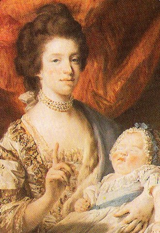 Charlotte, Princess Royal - The infant Princess Royal with her mother, Queen Charlotte. Painting by Francis Cotes, 1767. Currently displayed in the Royal Collection