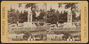 Charlotte Canda - Stereoscopy of burial monument from Robert N. Dennis collection