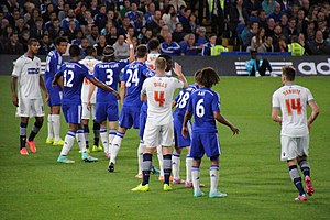 Nathan Aké - Aké (wearing No.6) playing for Chelsea against Bolton Wanderers in the League Cup; which they went on to win.